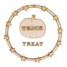 Trick or Treat Pumpkin Wood Halloween Hanging Decoration fun family craft kit