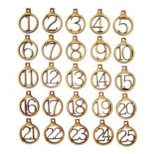 Wood Christmas Advent Number Rings Tags 1 - 25 in Gold, Silver, Natural or PLY