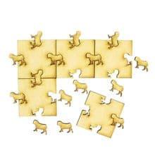 Wooden Interlocking Pug Dog Puzzle Pieces Craft
