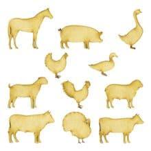 Wooden Laser Cut Craft Blanks Embelishment Topper 3mm MDF Ply - 11 Farm Animals