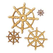 Wooden Laser Cut Craft Blanks Mixed Sizes Natural Gold Silver Black Ships Wheel