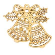 Wooden Laser Cut Shapes Various Sizes Decorative Bauble Christmas Bells