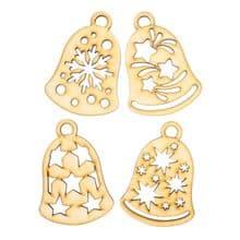 Wooden Laser Cut Shapes Various Sizes Decorative Bauble Topper Christmas Bells