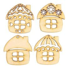 Wooden Laser Cut Shapes Various Sizes Decorative Gingerbread House Baubles Tags
