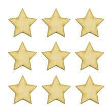 Wooden MDF Craft Blanks - Stars, 20mm to 50mm - Gold, Silver, Black