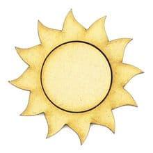 Wooden MDF Craft Blanks - Sun, Sunshine, 20mm to 50mm - Gold, Silver, Black