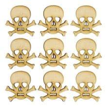 Wooden Skull and Crossbones - 3mm MDF - Laser Cut Craft Blanks Pirate Topper