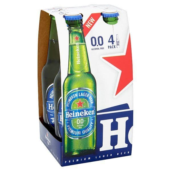 Heineken 0.0 Lager Beer 4 x 330ml Bottles