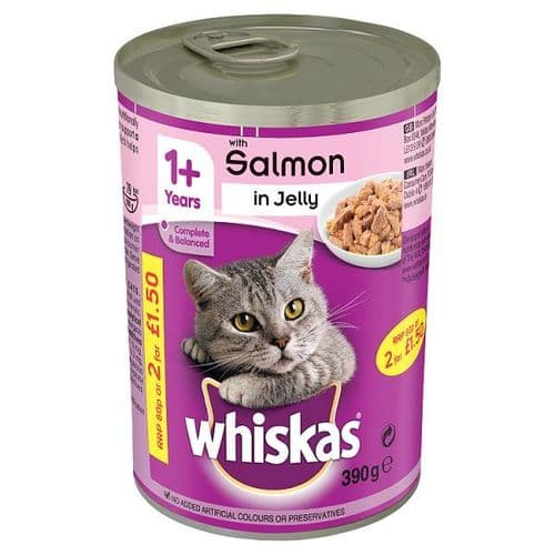 Whiskas 1+ Wet Cat Food Tin with Salmon in Jelly 390g