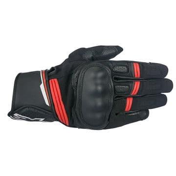 Alpinestars Booster Mens Short Motorcycle Motorbike Gloves - Black Red