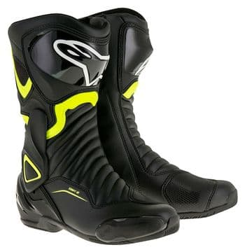 Alpinestars SMX 6 v2 Motorcycle Motorbike Sports Touring Boot Black Yellow Fluo