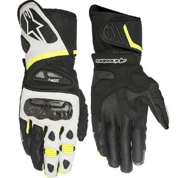 Alpinestars SP-1 Leather Motorcycle Gloves Black White Yellow Flo