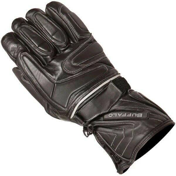 Buffalo Arctic Waterproof Leather Motorcycle Motorbike Gloves Scooter - Black