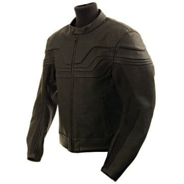 Buffalo Challenger Leather Motorcycle Motorbike Sports Jacket - Black