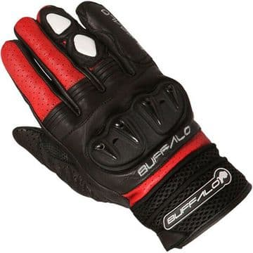 Buffalo Ostro Short Leather Vented Motorcycle Motorbike Sports Gloves Black Red