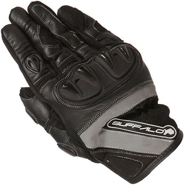 Buffalo Radar Leather Textile Mix Motorcycle Motorbike Scooter Gloves - Black