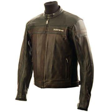 Duchinni Kansas Leather Motorcycle Motorbike Jacket - Black Brown - 2XL
