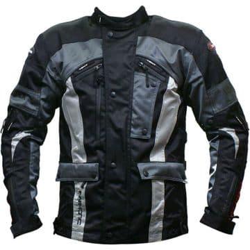 Duchinni Vortex Waterproof Textile Motorcycle Motorbike Jacket Black / Gunmetal