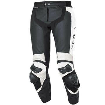 Held Grind Breathable Leather Motorcycle Motorbike Pants - Black White - EU58