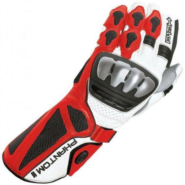 Held Phantom II Leather Motorcycle Motorbike Race Glove White / Red Size 12 3XL