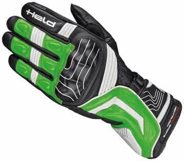 Held Revel Goatskin Leather Motorcycle Motorbike Sports Gloves - Black Green