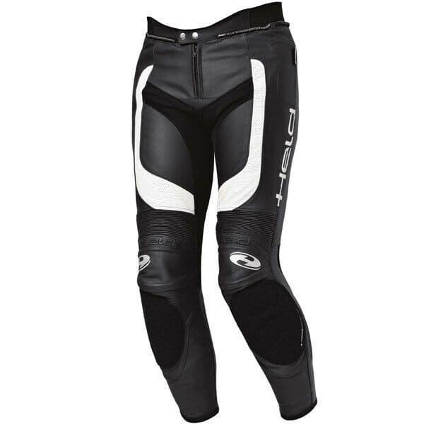 Held Rocket II Leather Motorcycle Motorbike Pants - Black / White - EU60