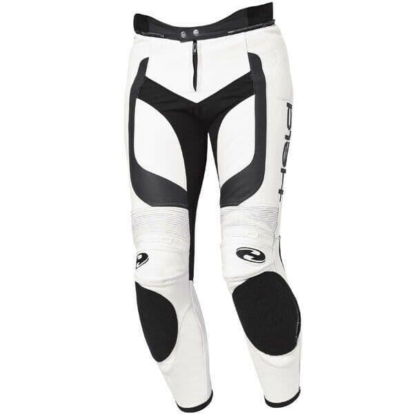 Held Rocket II Leather Motorcycle Motorbike Pants - White / Black - EU60