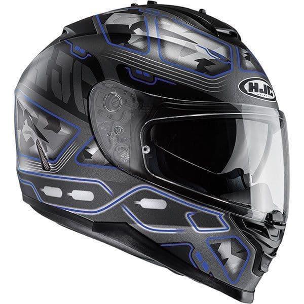 HJC IS-17 Uruk Black Blue Motorcycle Motorbike Helmet X Large XL Free Pinlock