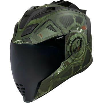 Icon Airflite Blockchain Green Motorcycle Motorbike Helmet - Free Smoked Visor