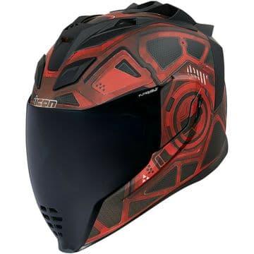 Icon Airflite Blockchain Red Motorcycle Motorbike Helmet - Free Smoked Visor
