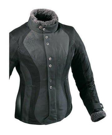 Ixon Ladies Vega Curl Waterproof Textile Motorcycle Motorbike Jacket Black Grey