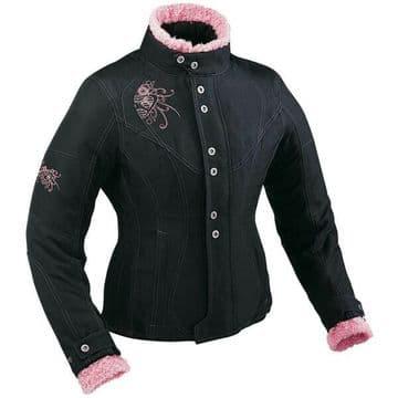 Ixon Ladies Vega Curl Waterproof Textile Motorcycle Motorbike Jacket Black Pink
