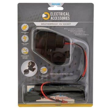Oxford 12V STD Weatherproof Accessory Plug Socket and 1.2mtr 10amp fused loom