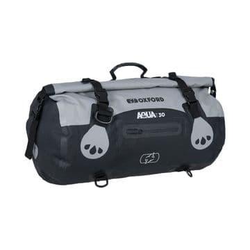 Oxford AQUA T-30 Waterproof Motorcycle Motorbike 30 Litre Roll Bag - Grey Black