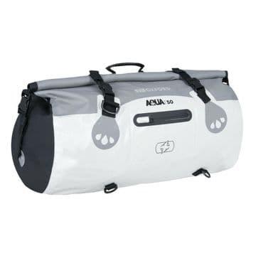 Oxford AQUA T-50 Waterproof Motorcycle Motorbike 50 Litre Roll Bag - Grey White