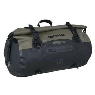 Oxford AQUA T-50 Waterproof Motorcycle Motorbike 50 Litre Roll Bag - Khaki Black