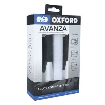 Oxford Motorcycle Bike Anodised Alloy Non Slip AVANZA 22mm Grips Silver OX610