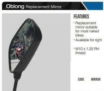 Oxford Motorcycle Motorbike Replacement Oblong - Left OX574