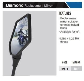 Oxford Motorcycle Replacement Mirror Diamond- Left OX570