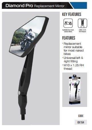 Oxford Motorcycle Replacement Mirror Diamond Pro - Universal OX154