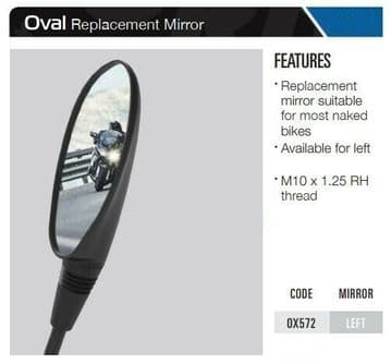 Oxford Motorcycle Replacement Mirror Oval - Left OX572