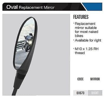Oxford Motorcycle Replacement Mirror Ovel- Right OX573
