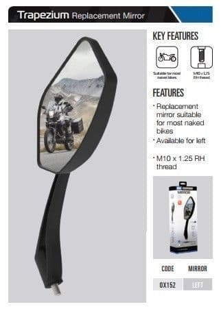 Oxford Motorcycle Replacement Mirror Trapezium - Left OX152