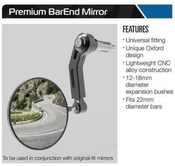 Oxford Premium Aluminium Bar End Mirror Left