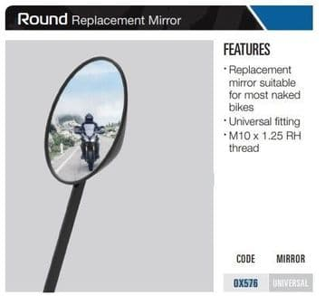 Oxford Replacement Motorcycle Mirror Round - Black OX576