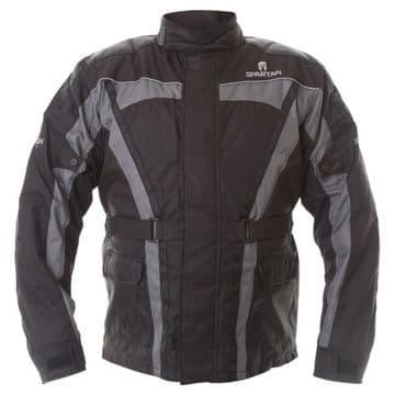 Oxford Spartan J14 Waterproof CE Textile Motorcycle Jacket - Black / Grey