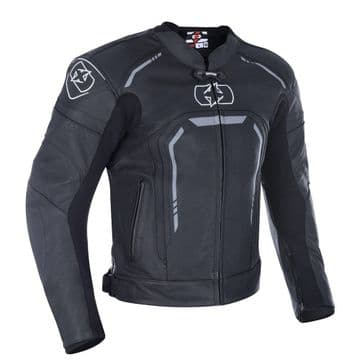 Oxford Strada Men's Leather Sports Motorcycle Jacket Stealth Black