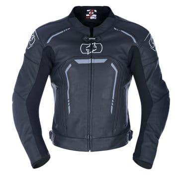 Oxford Strada Men's Leather Sports Motorcycle Motorbike Jacket - Black