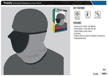 Oxford Toasty Black/Grey Thermal Motorcycle Mask OX631