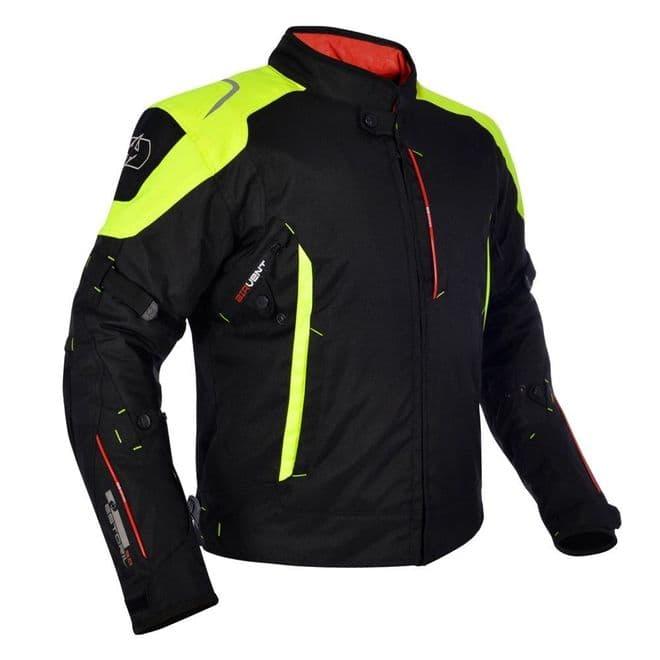 Oxford Toledo 1.0 Waterproof Textile Motorcycle Motorbike Jacket Black Fluo